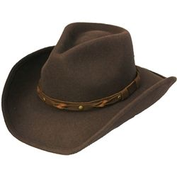 f24a7007277177 Henschel Hat shape-able brim brown wool cowboy hat with decorative band and  made from water repellent crushable wool.