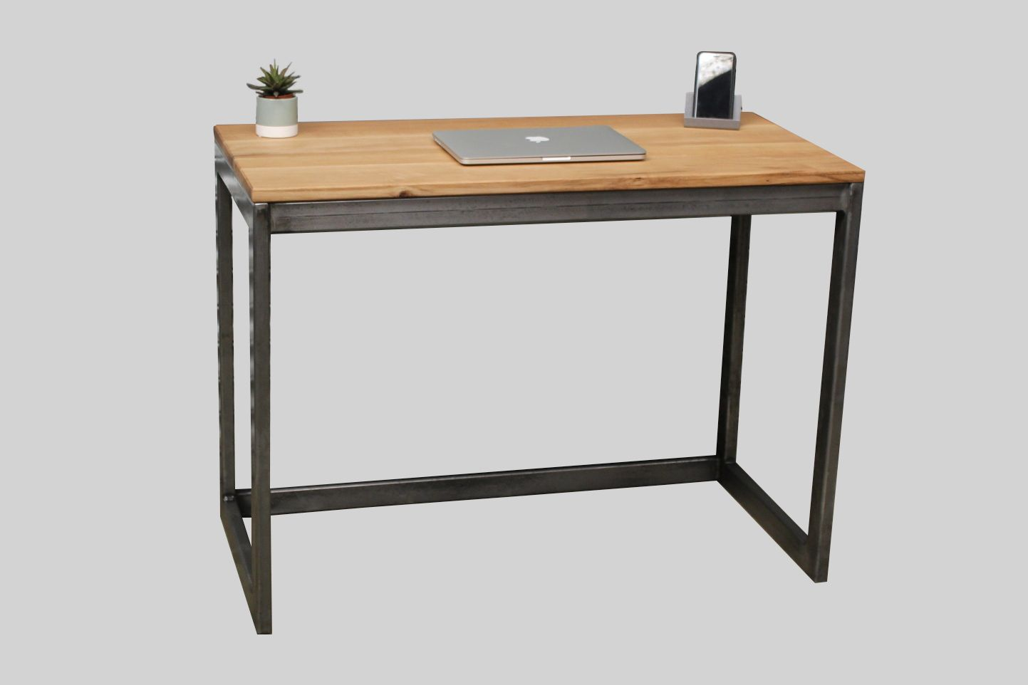 Oak Desk With Steel Frame Industrial Desk Office Wood And Metal
