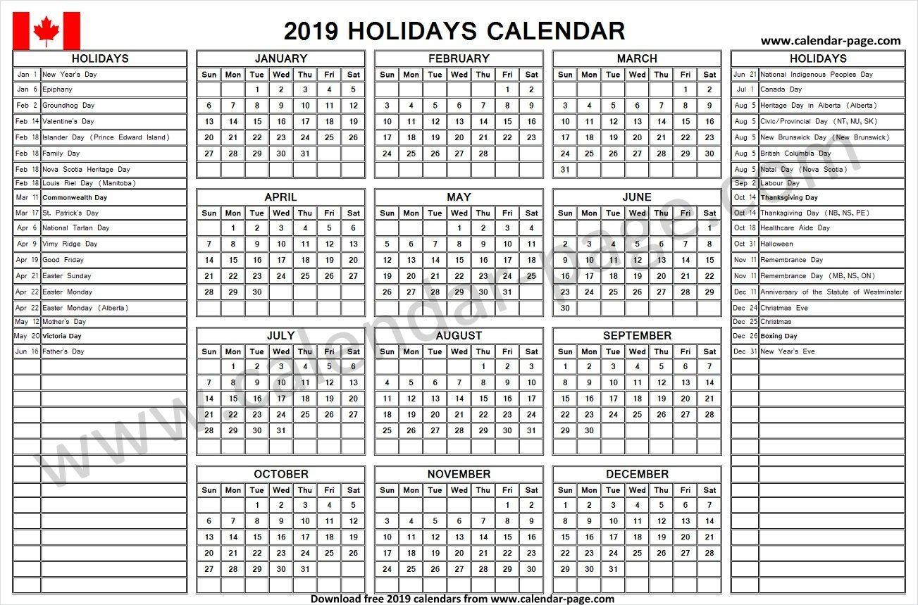 Holiday Calendar 2019 Canada Holiday Calendar Holiday Calendar