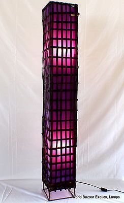 Floor Lamp Dark Bamboo Purple Lining