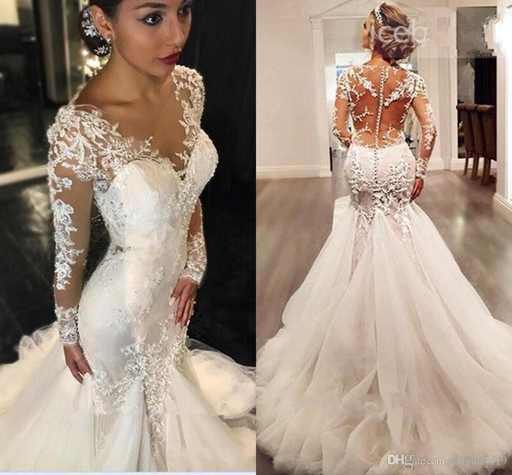 2018 Newest Mermaid Wedding Dresses Jewel Neck Long Sleeves Lace Applique Beaded Chapel Train See Through Back Plus Size Formal Bridal Dress From Haiyan4419 1 Mermaid Wedding Dress Wedding Dresses Wedding Dress Store [ 950 x 1024 Pixel ]