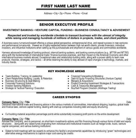 Resume Examples Banking Pinterest Resume examples and Executive