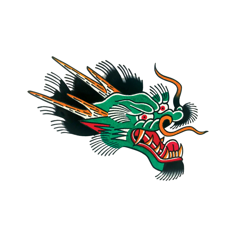 Dragon Dragon head tattoo, Old school tattoo designs