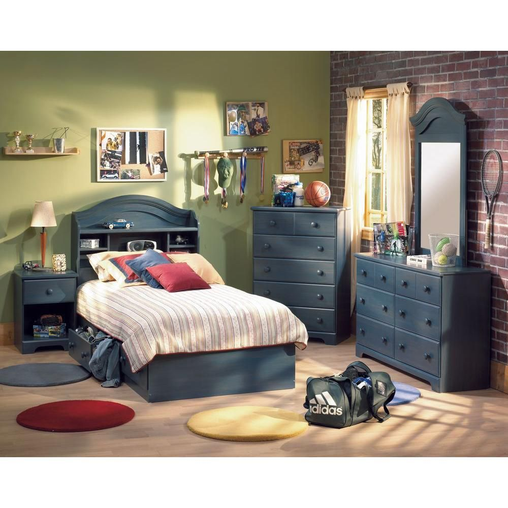 Summer Breeze Twin Mates Bed 39 Inch With 3 Drawers Blueberry