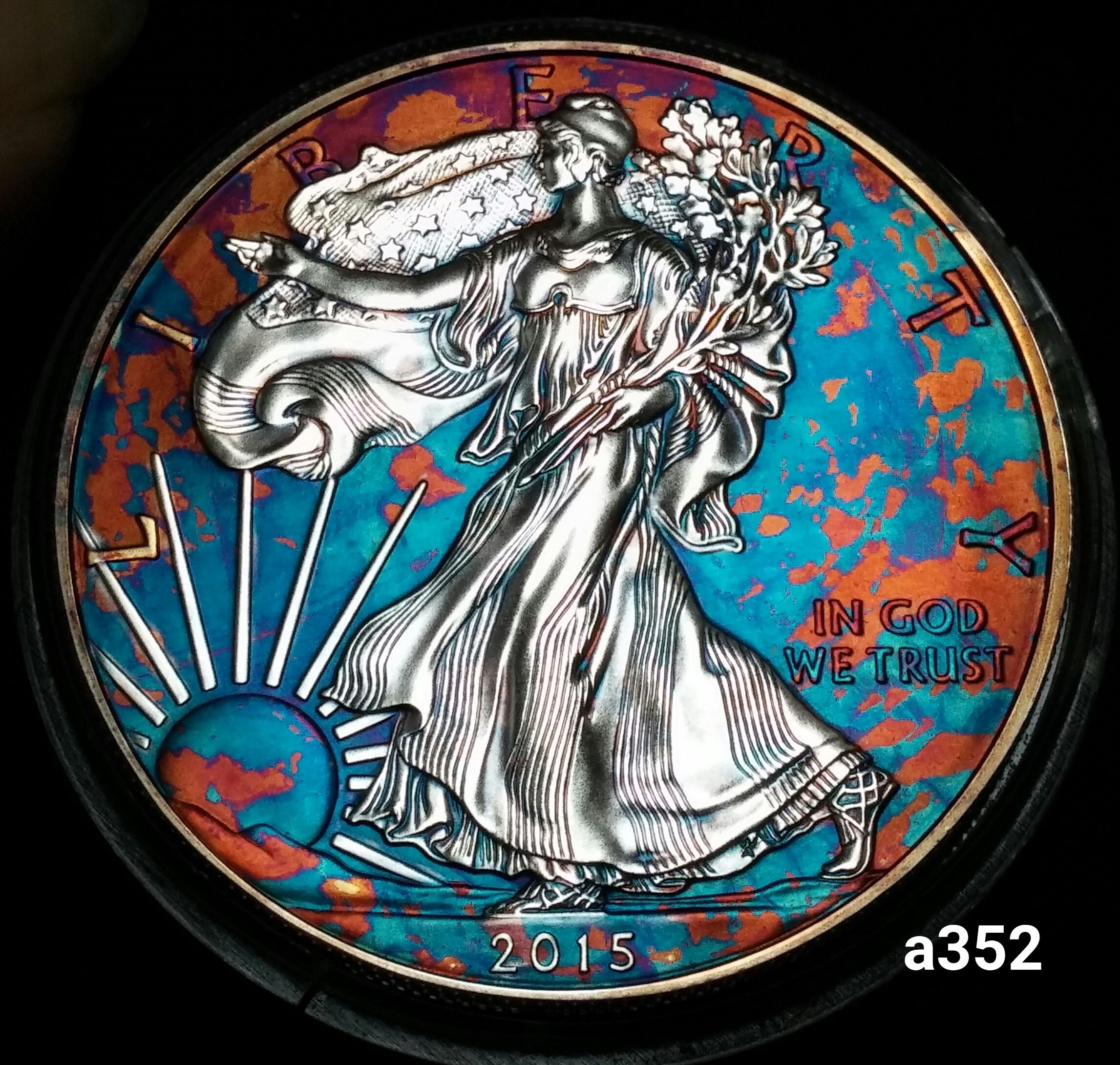 2015 Rainbow Toned Silver American Eagle 1 Troy Ounce Silver Monster Toned Silver Eagle Coins American Silver Eagle Eagle Coin