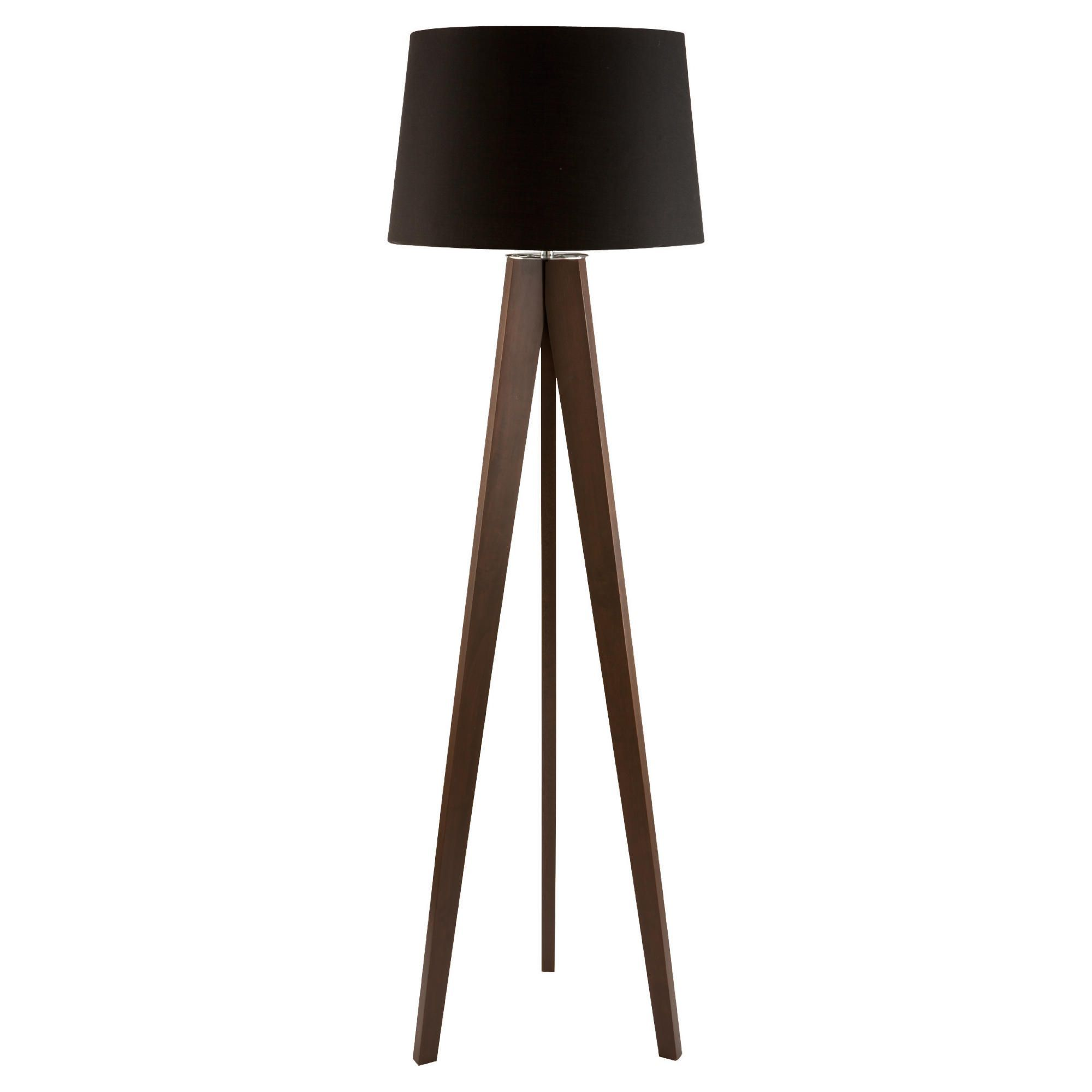 Tesco Tripod Wooden Floor Lamp Dark Wood Black Shade