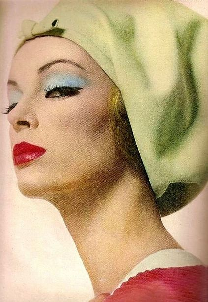 March Vogue 1962 Pale Green Turban Blue Eyeshadow And Red Lips