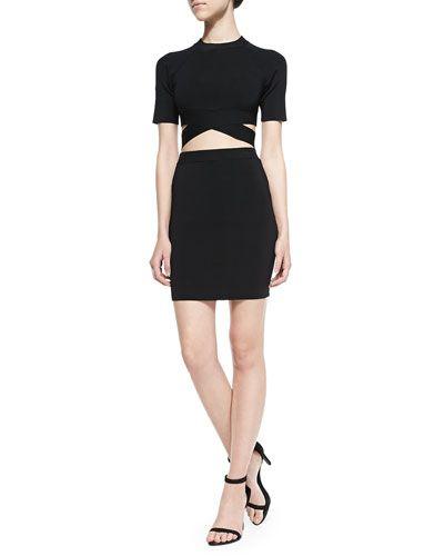 T by Alexander Wang, Short-Sleeve Stretch Crisscross Top & Stretch Knit Pencil Skirt, in black,