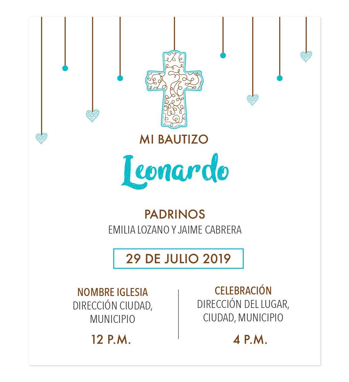 Diseño De Invitación Bautizo Cascada Invitaciones Bautizo