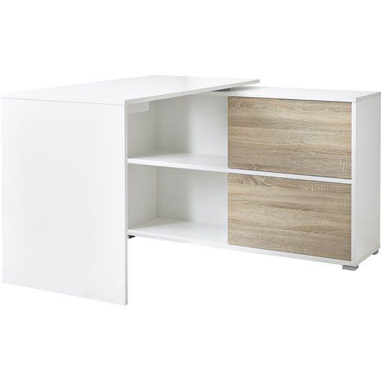white office corner desk. Slide Home Office Corner Computer Desk In White And Sonoma Oak S