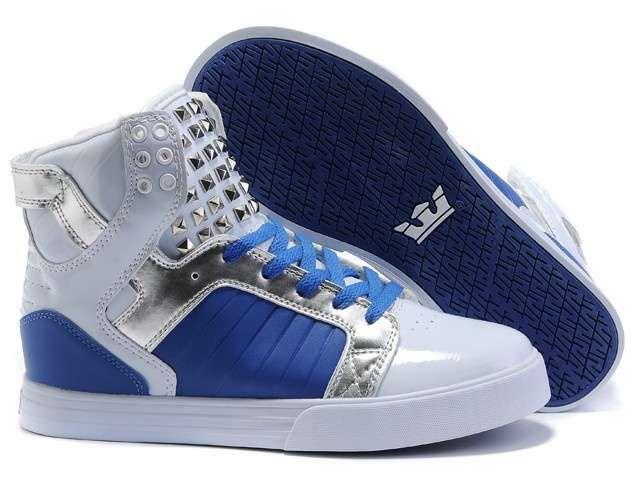 Men Supra Skytop Shoes White Blue Metallic Silver Rivet [Men Supra Skytop Shoes White Blue Metallic Silver Rivet] - $78.00 : Cheap Supra Shoes For Sale Online