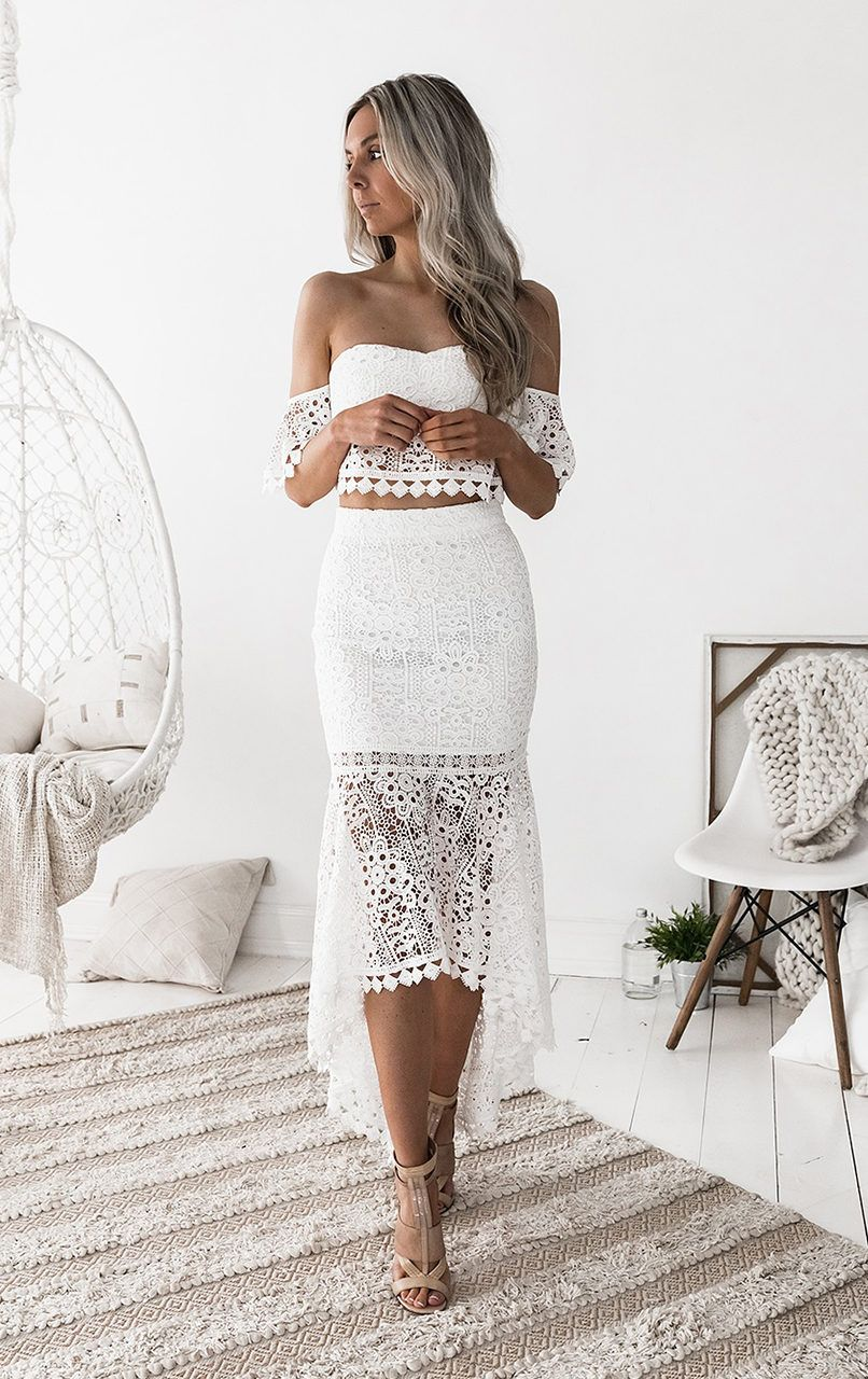 Two piece sweetheart short sleeves white lace homecoming prom dress