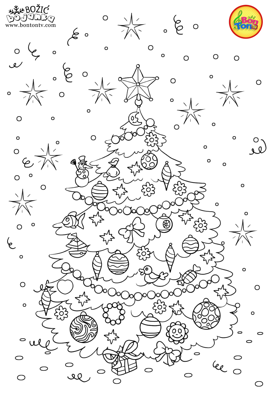 Christmas Coloring Pages - Božić bojanke za djecu - Free Printables for Kids - Christmas Tree, Cookies, Santa Claus and Snowman, Reindeers and more on BonTon TV - Coloring Books #christmas #coloringpages #coloringbooks #printables #božić #bontontv #adultcoloringpages