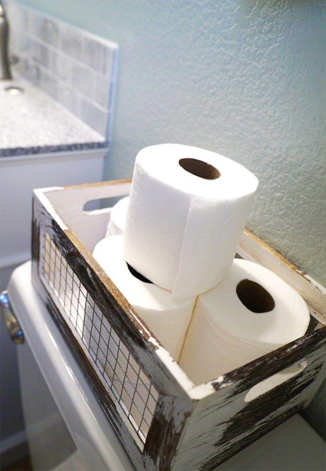 Guest Bathroom Makeover Toilet paper storage