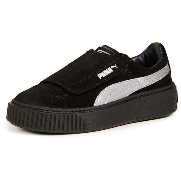 reputable site a57f5 3c4cb PUMA Platform Strap Satin EP Sneakers ( 110) ❤ liked on Polyvore featuring  shoes, sneakers, velcro sneakers, platform shoes, platform wedge shoes, ...