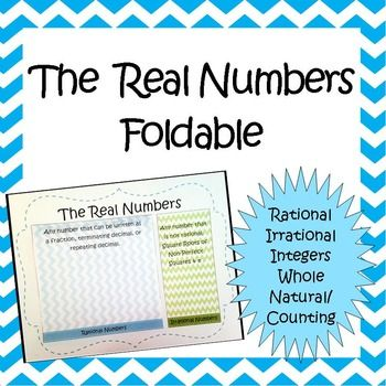 The Real Numbers Foldable Irrational Rational Integers Whole