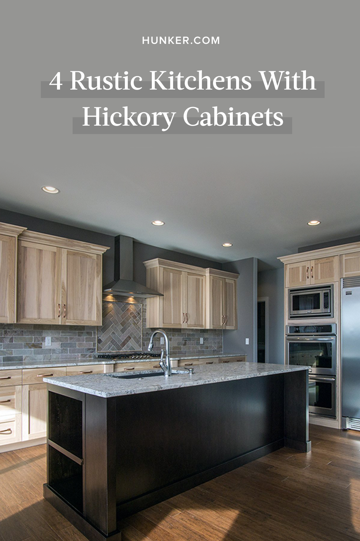 4 Rustic Kitchens With Hickory Cabinets We Wood Totally Recreate Hunker Hickory Cabinets Hickory Kitchen Cabinets Rustic Kitchen