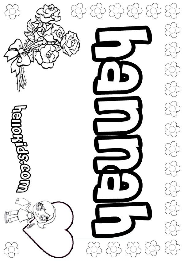 Hannah Coloring Pages Girls Name Coloring Pages Hannah Girly