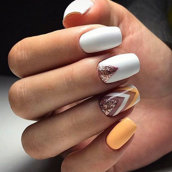 white nail art with yellow and gold accents #nail #design #ideas #nailart - White Nail Art With Yellow And Gold Accents #nail #design #ideas