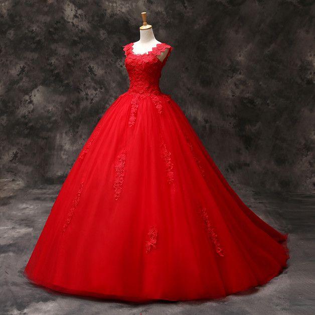 Rund Ausschnitt Applique Rot lang Tüll Brautkleid | Tüll ...