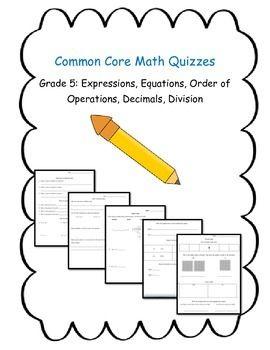 This bundle includes four different Common Core quizzes: 1