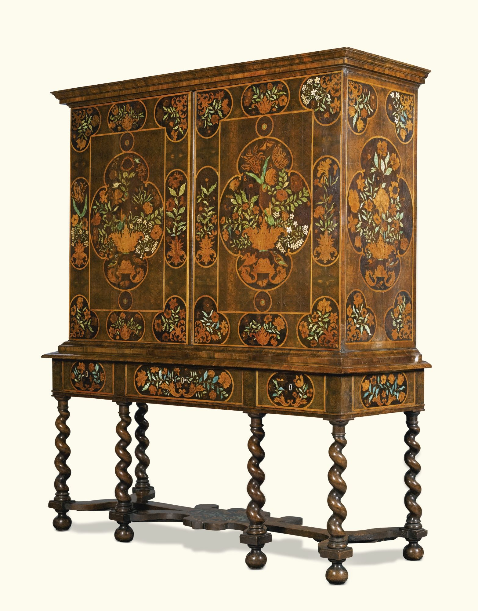 a william and mary oyster veneered olivewood chest on stand<br a william and mary floral marquetry cabinet on stand late 17th century possibly by thomas