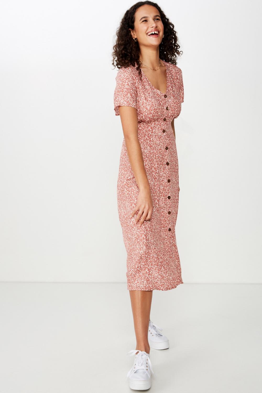 Woven Cherry Button Front S S Midi Dress Midi Dress Dresses Short Sleeve Dresses [ 1500 x 1000 Pixel ]