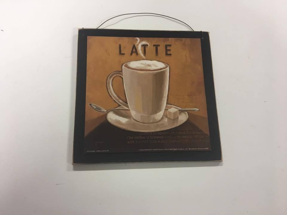 Coffee kitchen decor wooden wall art sign latte cafe bistro wood ...