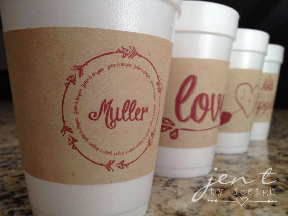 Personalized Wedding Coffee Cup Sleeves Printable By Jentbydesign Yes To The Initials In A Heart Paper Cupspaper