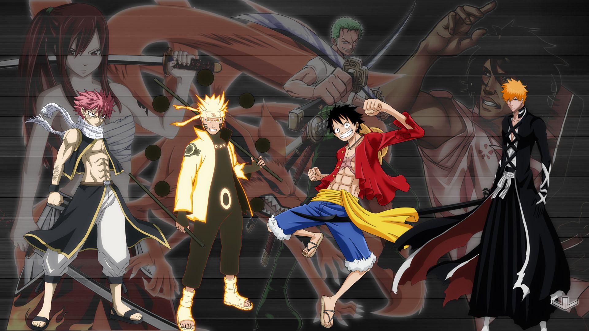 Anime Crossover Ichigo Kurosaki Natsu Dragneel Bleach One Piece