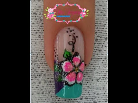Decoraci n de u as flor sencilla flor facil para u as youtube artes en tus u as pinterest - Decoracion facil de unas ...