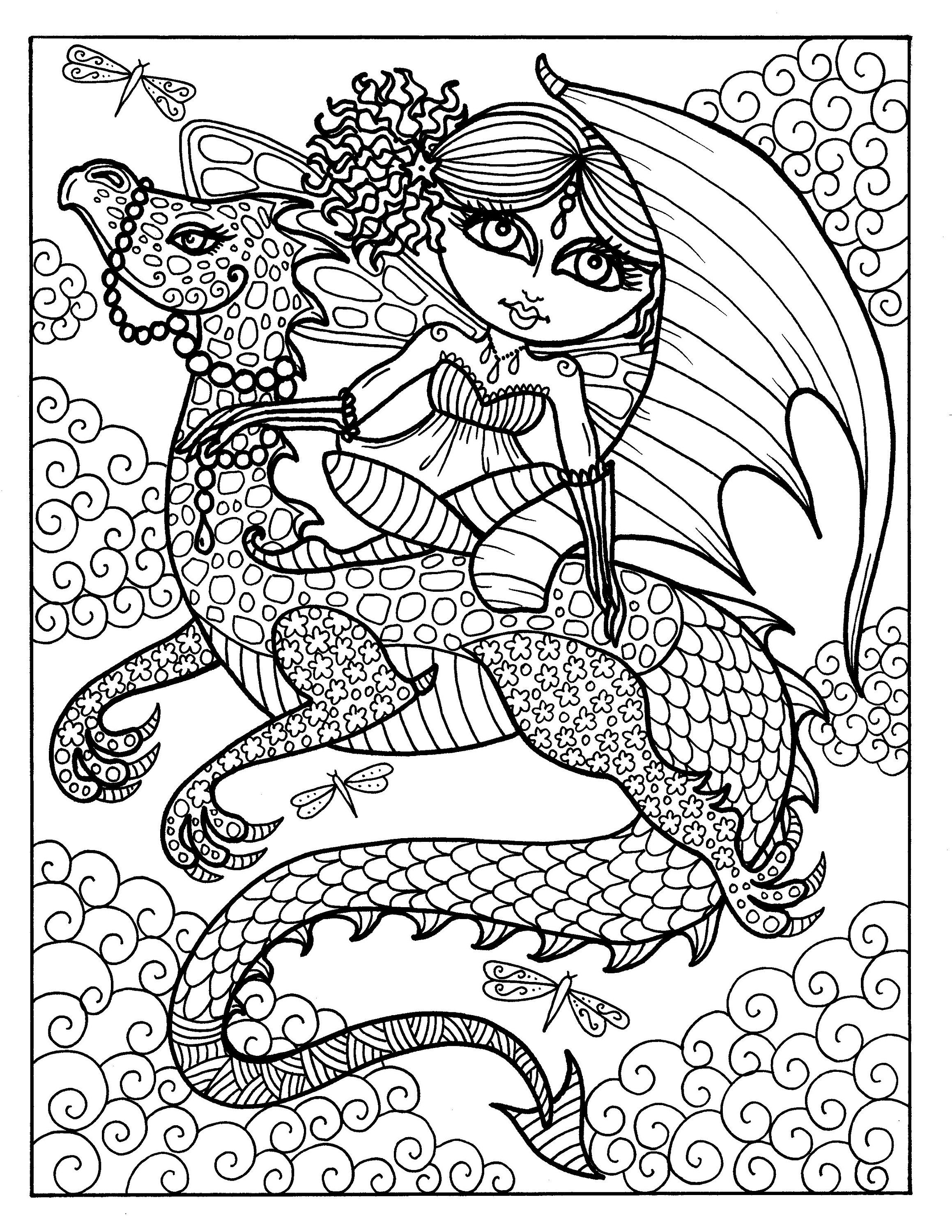 Digital Download Coloring Book Fairies and Dragons Digi ...