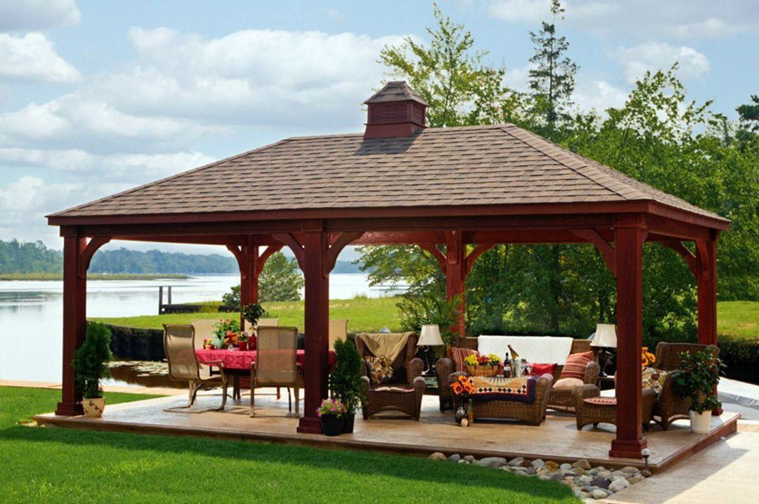 12 Unique Rustic Style Gazebo Designs That You Can Apply At Home In 2020 Backyard Pavilion Backyard Gazebo Outdoor Pavilion
