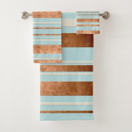 Copper Stripe Robins Egg Blue Bathroom Towel Set Zazzle Com