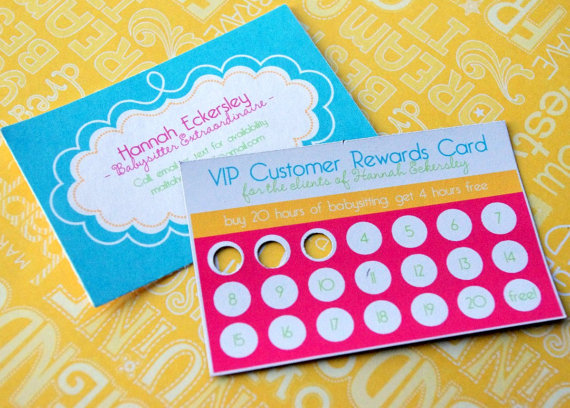 custom babysitting business and rewards cards for girls
