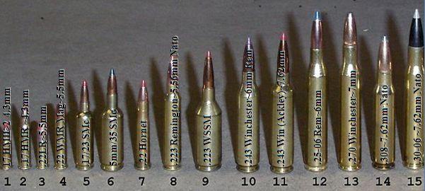 1 .17 HM~2 4.3mm, 2 .17 HMR ~4.3mm, 3 .22LR~5.5mm, 4 .22 WMR~5.5mm ...