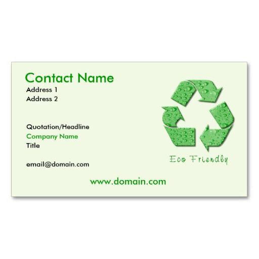 Recycling Eco Friendly Business Card Zazzle Com Eco Friendly Business Cards Customizable Business Cards Business Card Design