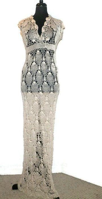 Wedding Beach Dress. Crochet Pineapple Off Shoulder Dress