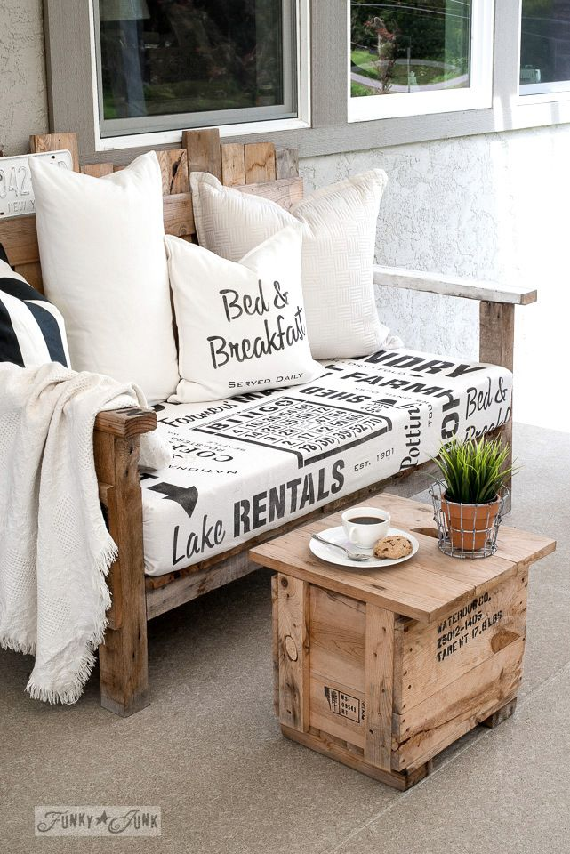 Sign stenciled fabric for the pallet wood chairs | Palettenmöbel ...