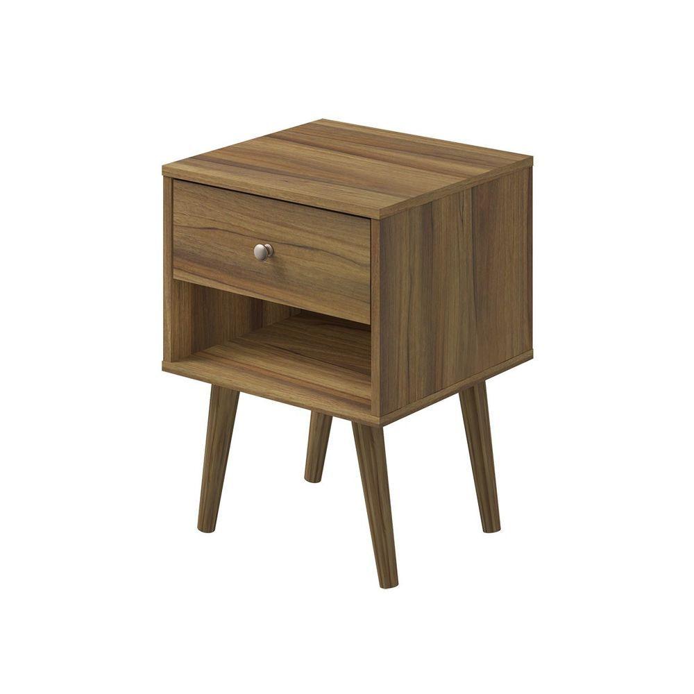 Mfi helsinki walnut drawer bedside with metal runners u tapered