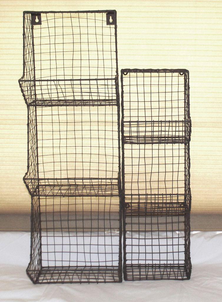 Large Rustic Industrial Metal & Wire General Store Rack | Wall racks ...