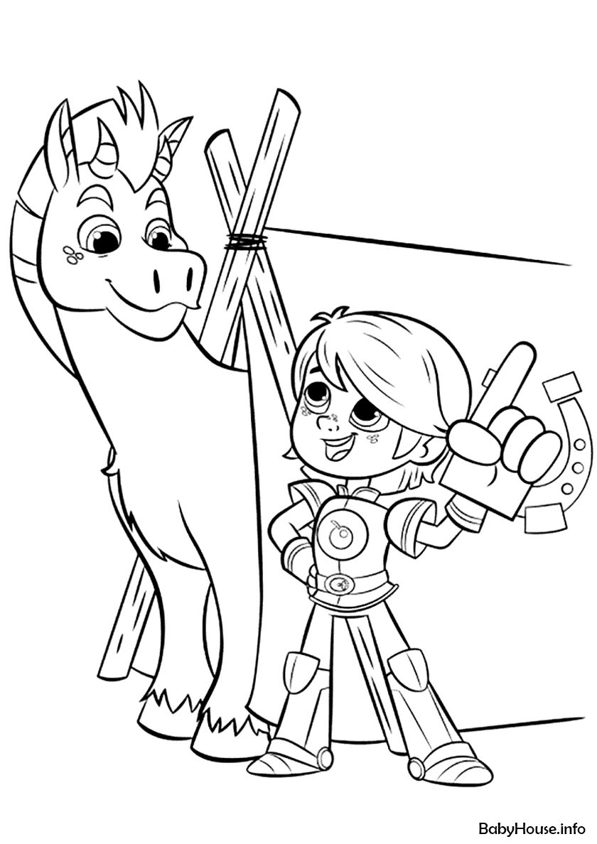 Sir Garrett And Horse Claude Cartoon Coloring Pages Coloring