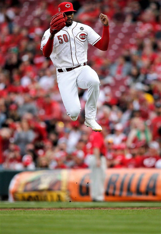 Cincinnati Reds Relief Pitcher Amir Garrett 50 Leaps Into The Infield As He Relieves Raisel Iglesias In The Top O Cincinnati Reds Reds Opening Day Cincinnati