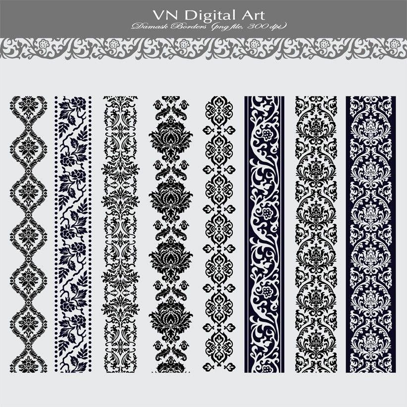 Damask Vertical Digital Borders 8 Digital Borders 273b 3 00 Via Etsy Damask Digital Paper Digital Borders
