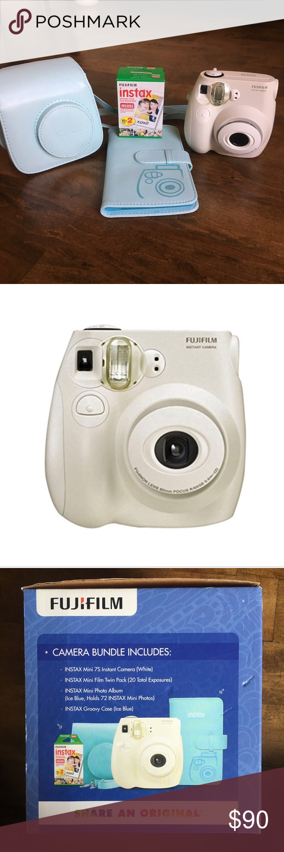cd8adbbf999 Fujifilm instax mini 7s bundle New in the box. Comes with white Polaroid  camera, blue camera case/bag, a photo album, and 2 packs of film. fujifilm  Other