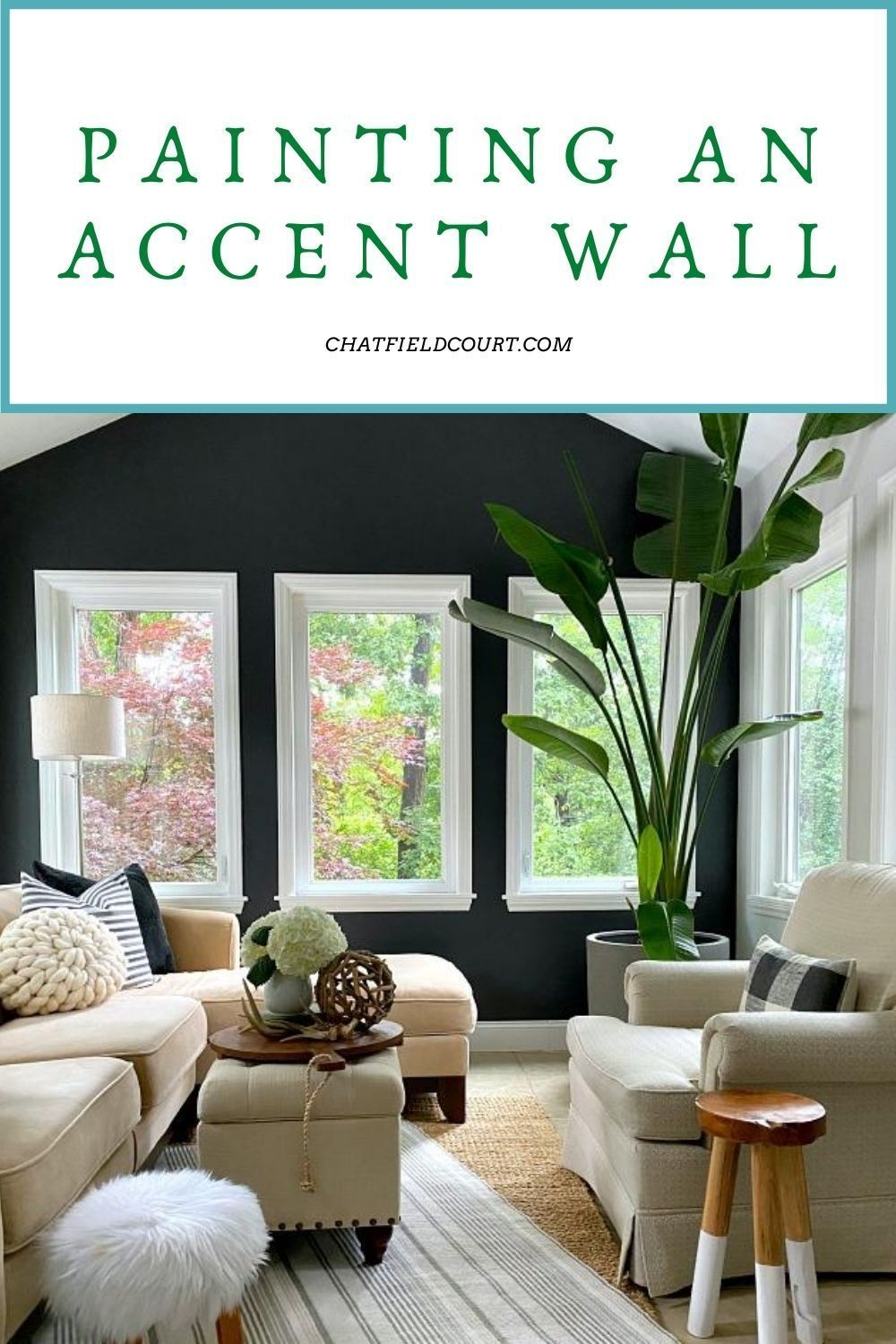 Painting An Accent Wall In The Sunroom Chatfield Court In 2020 Accent Wall Paint Accent Wall Small Sunroom