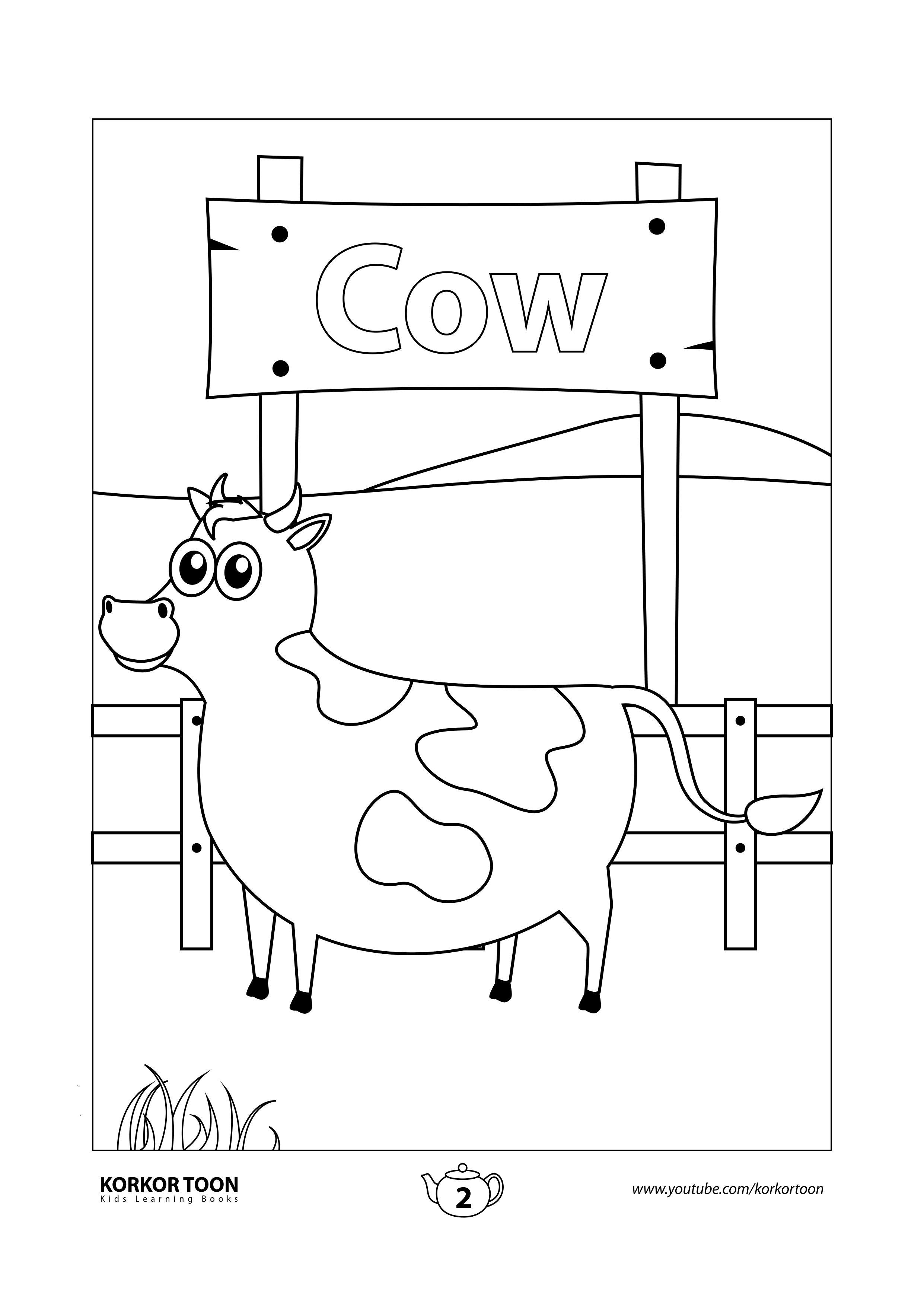 Cow Coloring Page Farm Animals Coloring Book Kindergarten Worksheets Printable Kindergarten Coloring Pages Writing Worksheets Kindergarten [ 3508 x 2482 Pixel ]