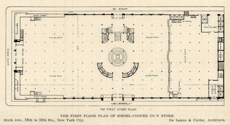 Floor Plan Of The Siegel-Cooper Department Store, New York