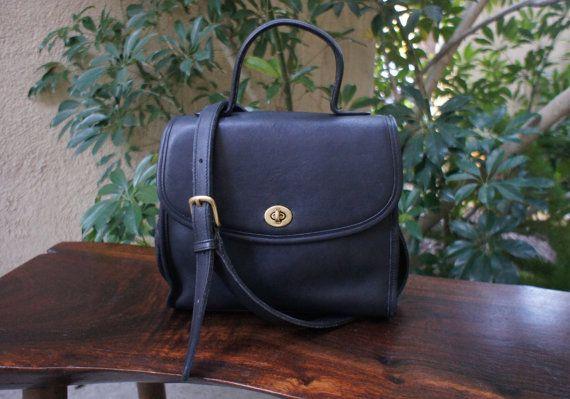 the black vintage Coach Manor Bag