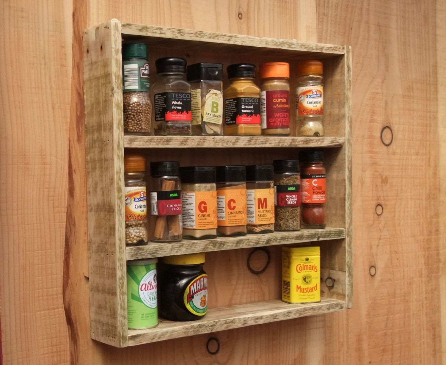 Rustic Spice Rack / Kitchen Shelf Made From Reclaimed Wood ...